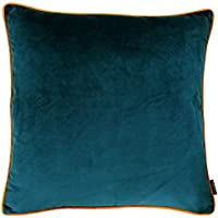 """Riva Paoletti Meridian Large Square Cushion Cover - Teal Blue - Contrasting Tiger Orange Piped Edges -Velvet Feel - Machine Washable - 100% Polyester - 55 x 55cm (22"""" x 22"""" inches)"""