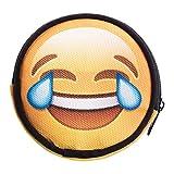 Ronda cartera cremallera funda Organizador para dinero tarjeta moneda soporte Unisex Funny Emoji Tears [041]