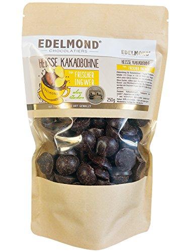 Edelmond Heiße Kakaobohne Ingwer. Konzentriert, ohne Zucker für Trinkschokolade. Kein Pulver. Vegan & Fairtrade - 750g Nachfüllpack