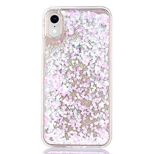 """iPhone XR Case Glitter [Free Tempered Glass Screen Protector],Mo-Somnus Fashion Flowing Liquid Floating Bling Shiny Sparkle Glitter Cover Cases for Apple iPhone XR 6.1"""" (Light Pink)"""