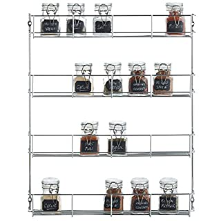 VonShef 4 Tier Spice Herbs Rack - Suitable for Wall Mount or Inside Cupboard