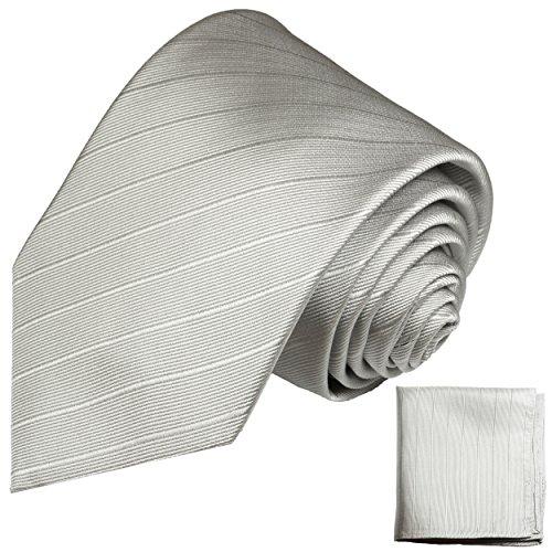 Silbernes Krawatten Set 2tlg 100% Seidenkrawatte mit Einstecktuch