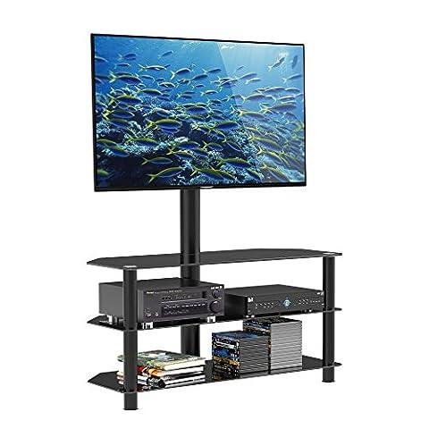 1home Meuble TV Multifonctionnel en Verre avec Télé Support Pivotant en Verre adapte Ecran de 36 à 42 pouce