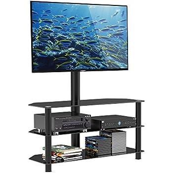1home meuble tv multifonctionnel en verre avec t l support pivotant en verre adapte ecran de 36. Black Bedroom Furniture Sets. Home Design Ideas