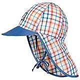 Markenlos Jungen & Mädchen - Sonnenschutzmütze Bindemütze Schirmmütze Nackenschutzmütze Sunsafe UV- Protect 30+ Kindermütze - 83825 (49 cm)
