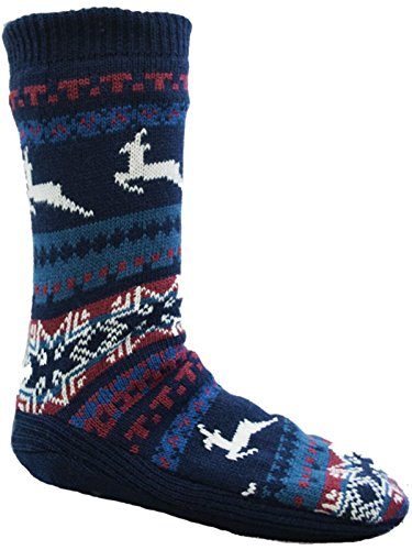 faac352b98c46 Hombre Fairisle diseño de Navidad zapato de salón Calcetines con suela de  agarre/UK 6