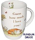 Unbekannt Henkeltasse -  Weisst du eigentlich wie lieb ich Dich hab - Guess How Much I Love You  - groß - 380 ml - Porzellan / Keramik - Kindertasse - Hase & Tiere - ..