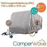 LUXUS Wohnwagen-Abdeckhaube, Spezielle 4-Schicht Abdeckung für Fahrzeuge mit einer Länge von 6,70 Meter-7,10 Meter, UV- Beständig + Atmungsaktiv, EXTRA lange Spannbänder für jede Wetter- und Windlage