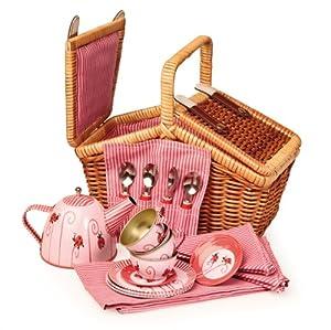Egmont Toys - Cesta maletín de mimbre juego de té, cesta de picnic para niños