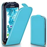 Samsung Galaxy S3 Mini | Hülle Türkis [OneFlow 360° Klapp-Hülle] Etui thin Handytasche Dünn Handyhülle für Samsung Galaxy S3 Mini S III Case Flip Cover Schutzhülle Kunst-Leder Tasche