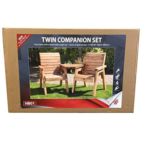 Garden Furniture High Back Chairs + Tray Solid Wood Wooden Supplied Flat Packed