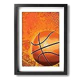 ArtyWal Kunstdruck, gerahmt, mit Basketballmotiv, 30 x 40 cm, perfektes Geschenk für Küche oder Schlafzimmer, Schwarz, Einheitsgröße