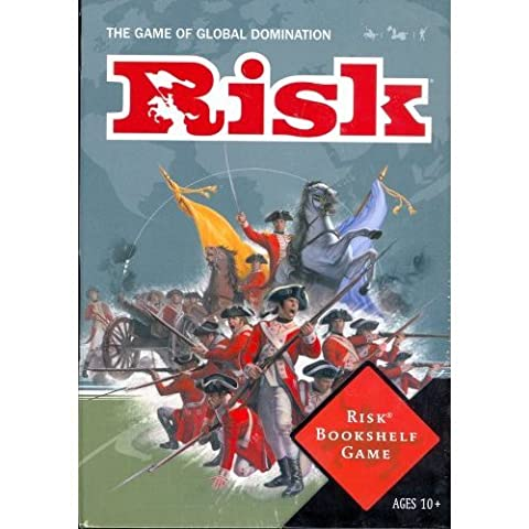 RISK- THE GAME OF GLOBAL DOMINATION (BOOK-SHELF EDITION), FOR OVER 40 YEARS (DESIGNED IN A COLOR BOOK-SHAPED BOX, THAT SITS SPINE OUT ON MOST BOOK SHELVES- 2-6 PLAYERS (9 YRS.-UP) by HASBRO