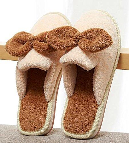 Autunno inverno carino e femminile di prua anti casa coperta di cotone caldo pantofole - ciabatte antiscivolo beige