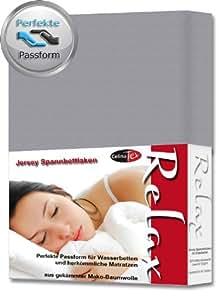 Spannbettlaken Spannbetttuch 90x200 - 100x220 cm Baumwolle Jersey Relax platin grau