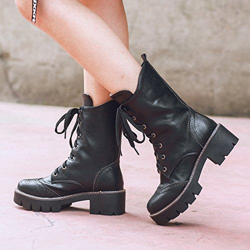 &ZHOU Bottes d'automne et d'hiver Bottes courtes pour femmes adultes Martin bottes bottes Chevalier A5-8 Black