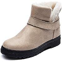 LIANGXIE Botas de Nieve de Moda para Mujer Botas de Invierno cálido Botas Cortas Planas de Gran tamaño para Mujeres Ms Zapatos de algodón Tubo Corto Botas de Mujer (Color : Marrón, tamaño : 35)