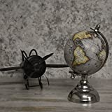 Casa Décor Handmade Slate Grey Desktop Rotating Globe Chrome Metal Base Stand World Globe - Perfect Globes For Students And Kids - Political Globe - Decorative Gift Item
