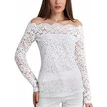 ZANZEA Blusa Camiseta Casual Elegante Verano Playa Encaje Cuello Barco Mangas Largas para Mujer