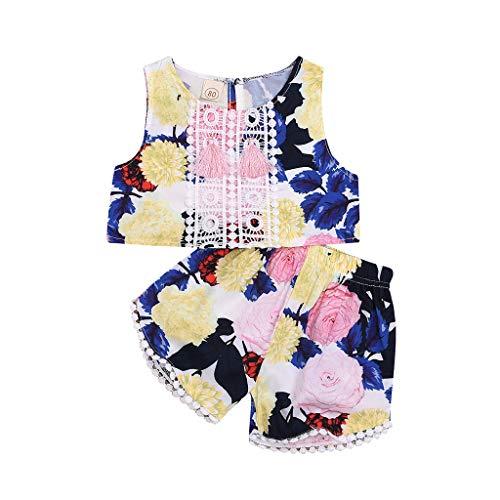 Bfmyxgs(6M-3T Mädchen-Blumen-Druck-Quasten-Weste + Kurzschluss-Zweiteilige Baby-Taufe-Rock-Blumen-Muster-Kurzschluss -
