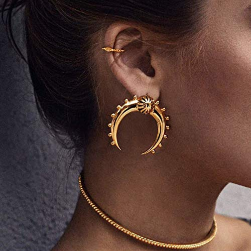 LPOHNFGH Ohrringe Gold Farbe Crescent Moon Ohrringe für Frauen Tribal Antique Brass Moon Horn Ohrstecker Schmuck Vintage