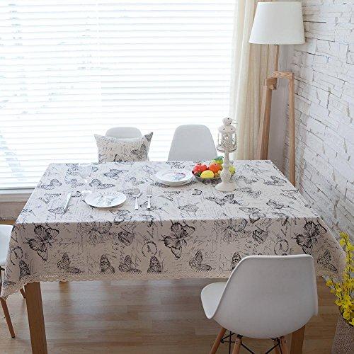 American Rural Black Butterfly Tischdecke Elegante Brief Tischdecken Startseite Baumwolle Leinen...
