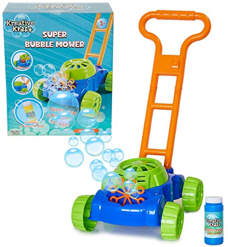 KreativeKraft Seifenblasen Rasenmäher, Outdoor Spielzeug, Bubble Machine Spielzeug Zum Schieben , Seifenlösung und Batteriebetrieben, Garten Seifenblasenmaschine Kinder, Geschenke ab 3 Jahre