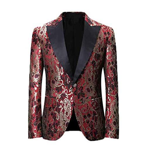 BERCICI Mens Blazer Lässige Claret Flower Printed Party Hochzeitsanzüge Slim Fit Blazer ()