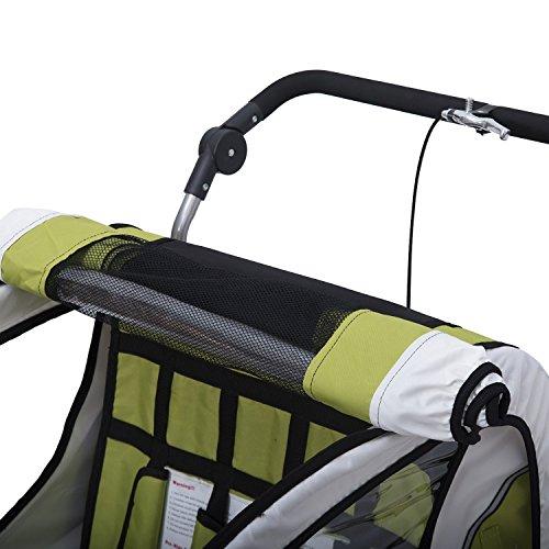 homcom 440-001GN 2 in 1 Fahrradanhänger Jogger 360° Drehbar für Kinder, grün / schwarz - 4