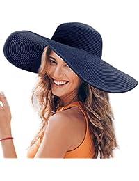 Dafunna Donne Cappello Tesa Larga Elegante Cappello Protezione UV Paglia da  Cappello della Spiaggia Pieghevole Floscio 42e9ea5d109f