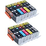 Start - 12 Cartouches d'encre compatibles Canon PGI-550XL CLI-551XL Grande capacité pour Canon PIXMA IP 8750, MG6350, MG7150, MG7550 (2 grande Noir,2 petit Noir, 2 Cyan, 2 Magenta, 2 Jaune, 2 gris)