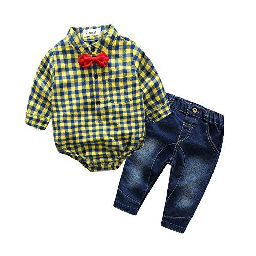 Fanryn Baby Mädchen Jungen Kariert Bekleidung Sakkos Anzüge kariertes Hemd spielanzug Jeans Strampler Kleidung