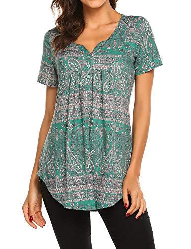 Avacoo Damen Kurzarm T Shirt Paisley V-Ausschnitt Tops Tunika Baumwolle Bluse Grün XXL -