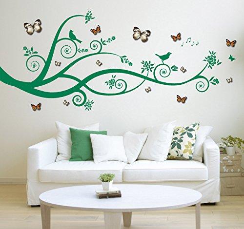 Große Baum Design, Zweige, Vögel mit 3D-Acetat-Kunststoff grau/weiß & orange Schmetterlinge - Matt Vinyl Wandkunst Aufkleber, Aufkleber, Wandbild. Haus, Wanddekor, Wohnzimmer, Schlafzimmer
