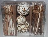 Streudeko - Potpourri Set: Shola Bälle / Dekokugeln, Holz/Zweige braun-beige als perfekter Tischschmuck