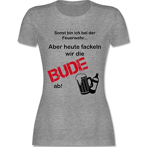 Feuerwehr - Heute fackeln wir die Bude ab! - tailliertes Premium T-Shirt mit Rundhalsausschnitt für Damen Grau Meliert