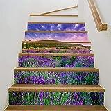 MTX Ltd Western Style Kreative Wanddekoration 3D Selbstklebende Vinyl Treppen Aufkleber - für Treppenhaus Abnehmbare Dekoration Kindergarten Lavendel Muster Aufkleber Papier 100 * 18 cm * 6 Teile/Sat