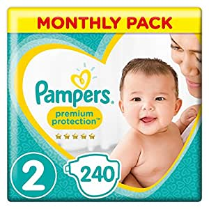 Pampers Premium Protection New Baby Size 2, 240 Nappies, 4-8 kg, Monthly Pack