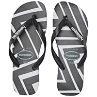 Havaianas Men's Top Zig Zag Flip Flop Sandal, Black, 8 M US