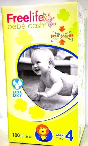 Windelhosen Maxi 7-18 kg, BébéCashFreelife, Grösse 4, 2x50 Stück, Unisex-Babywindeln -