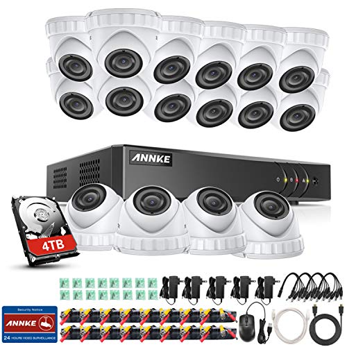 ANNKE Überwachungskamera Set System 16CH HDMI DVR mit 16 Außen 3.0MP Metall Dome Kamera set CCTV Überwachung 30M IR Nachtsicht Bewegungsmelder(4TB HDD) (16-kamera-system überwachung)