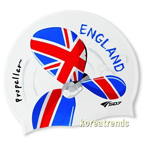 Silikon-Badekappe mit Propeller-Motiv in den Farben der England-Flagge