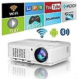 Proiettori Bluetooth wireless HD Cinema domestico WXGA LED 4400 Lumen Smart Android Proiettore Wifi 1080P esterno Supporto HDMI USB VGA AV Audio per TV DVD Telefoni PC Laptop PS4 Gioco Casa Fuori film