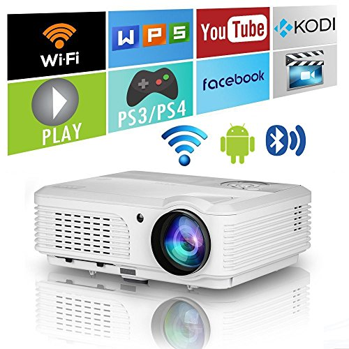 LED LCD WXGA Smart HD HDMI Cine en casa Proyector al Aire Libre Bluetooth WiFi 4200 lúmenes portátil inalámbrico Android 1080P Airplay Película Proyector de Videojuegos para Apple iOS iPhone TV DVD