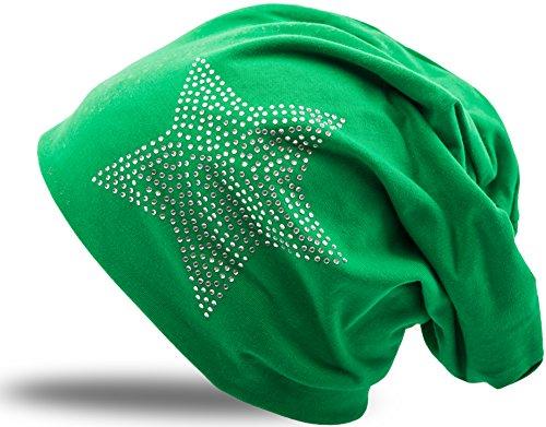 Jersey Baumwolle elastisches Long Slouch Beanie Unisex Herren Damen mit Strass Stern Steinen Mütze Heather in 35 verschiedenen Farben (2) (Dark Green)