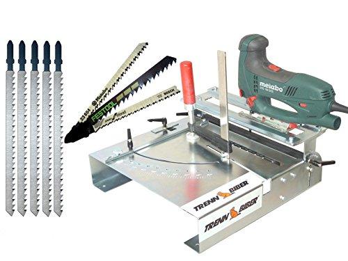 Neu Stichsägetisch Trenn-Biber 012L-3 + Sägeblätter von Metabo Bosch Festool +5 lange T-Schaft Stichsägeblätter für Stichsägen - Sägetisch, zum Laminat schneiden
