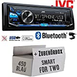 Smart ForTwo 450 blau - JVC KD-X341BT - Bluetooth | MP3 | USB | Android | iPhone Autoradio - Einbauset
