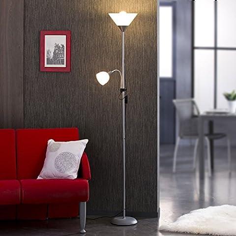 BASIC - Lampadaire métal gris 177cm avec liseuse - 1x E27 + 1x E14 - Réflecteurs blancs