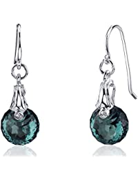 Revoni Spherical Cut 11.00 carats Alexandrite Fishhook Earrings Sterling Silver