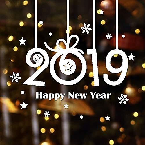 2019 Wandaufkleber mit Schneeflocken-Motiv für Zuhause, Schlafzimmer, Dekoration, Korp Büro, Wand-Spruch 23.6x24inch weiß ()